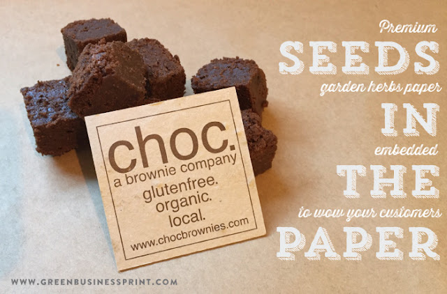 Seeded paper business cards chocolate company