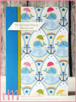 Stampin' Up! rosa Mädchen Kulmbach: Babykarten mit Glückswal, Ge-wal-tig starke Grüße und Designerpapier Sonne, Regen, Fantasie