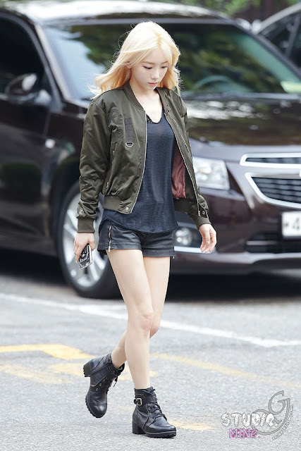 Steal Taeyeon's Edgy Chic Look: Leather Short and Military Boots
