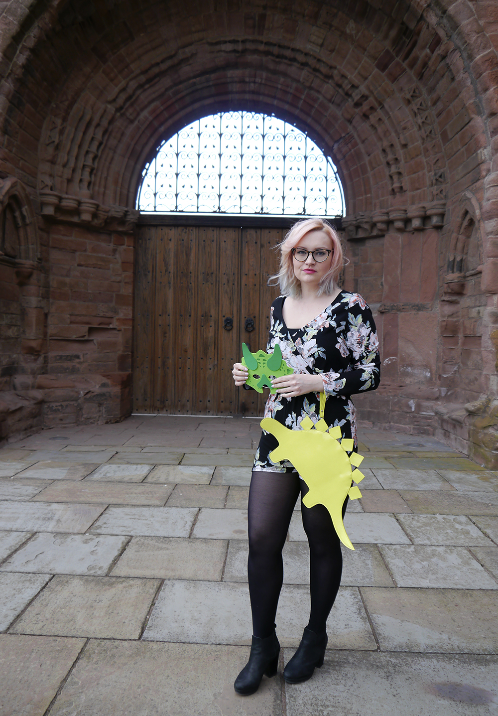 dinosaur themed fashion shoot, Arbroath Abbey, floral Boohoo jumpsuit, pink and blue ombre hair DIY,