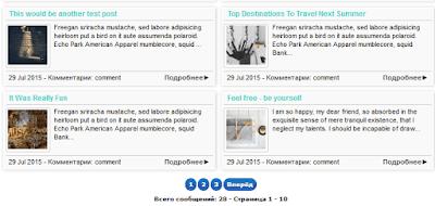 Карта блога с картинками и нумерованной навигацией