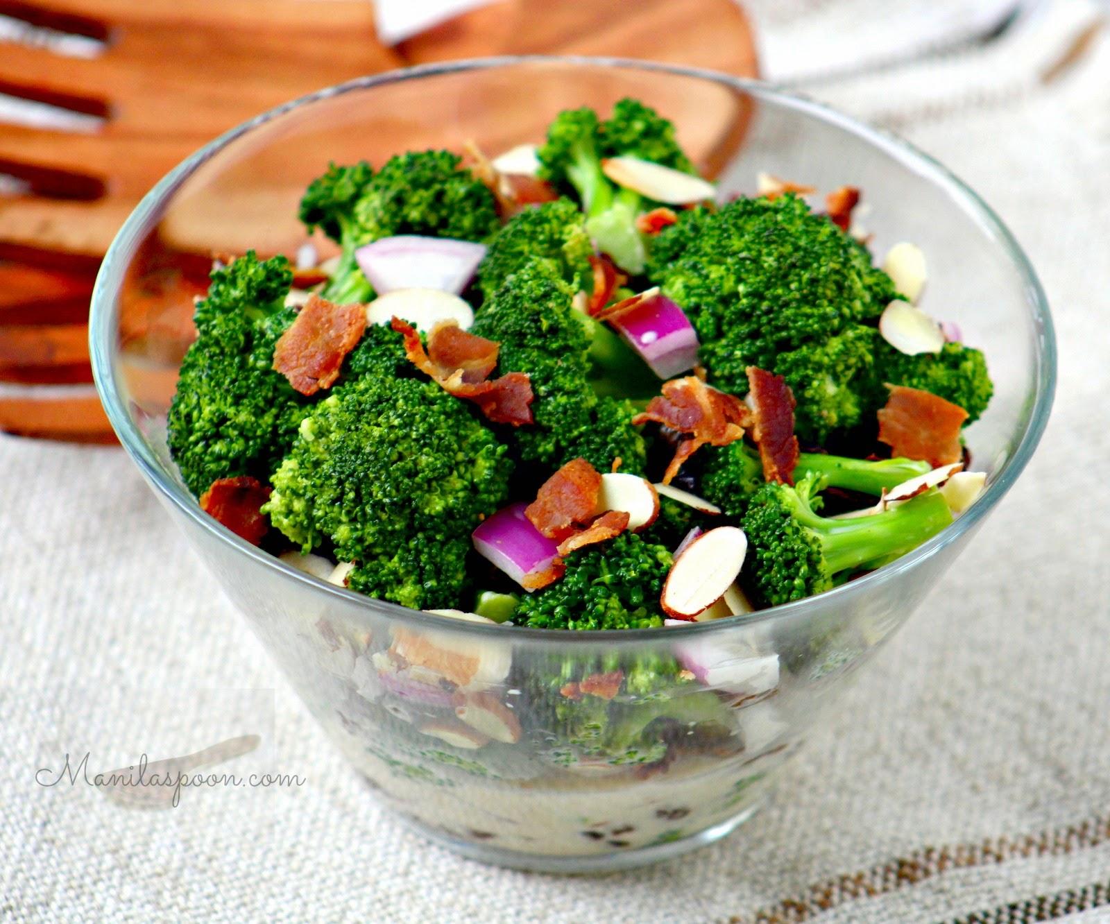 Broccoli Bacon Salad with Raisins and Almonds