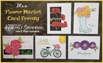 Blog With Friends, monthly multi-blogger projects based on a theme | Flower Market Card Frenzy by Melissa of My Heartfelt Sentiments | Featured on www.BakingInATornado.com | #blogging