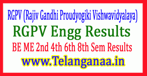RGPV Engg Results 2018 BE ME 2nd 4th 6th 8th Sem Results