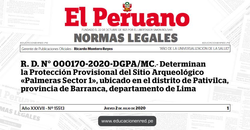 R. D. N° 000170-2020-DGPA/MC.- Determinan la Protección Provisional del Sitio Arqueológico «Palmeras Sector 1», ubicado en el distrito de Pativilca, provincia de Barranca, departamento de Lima