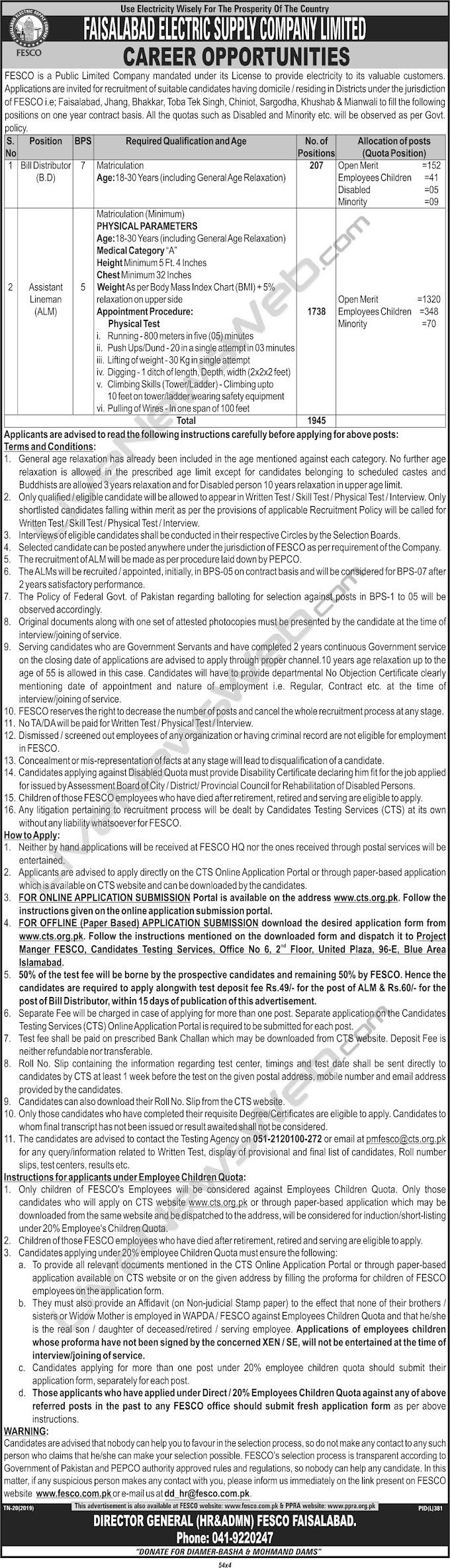 Jobs in FESCO (Faisalabad Electric Supply Company)