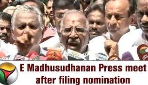 Madhusudhanan, Panneerselvam camp's candidate for R.K. Nagar constituency addressing reporters