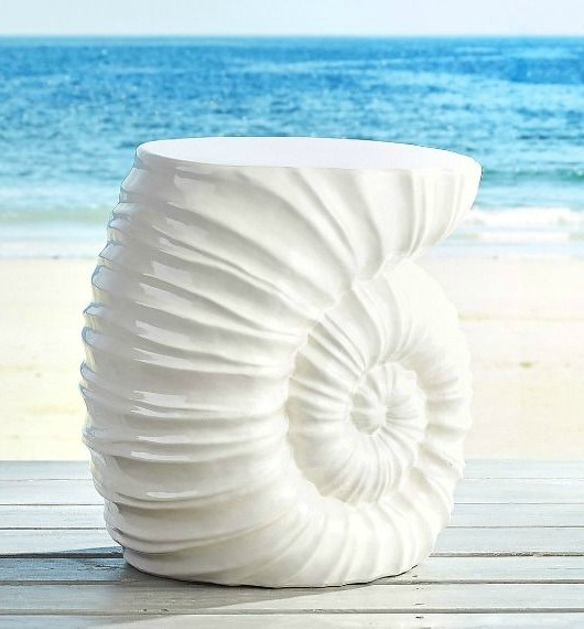 White Shell Side Table / Garden Stool