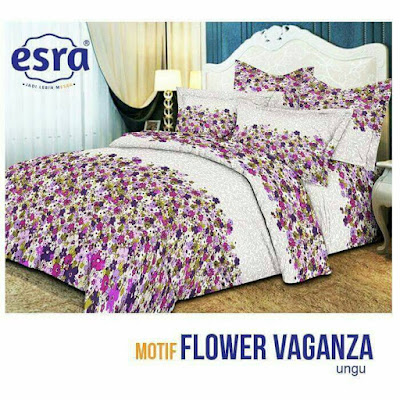sprei Flower Vaganza Ungu cotton