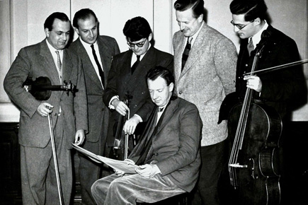 Benjamin Britten, Peter Pears and the Amadeus Quartet (Photo Royal College of Music)