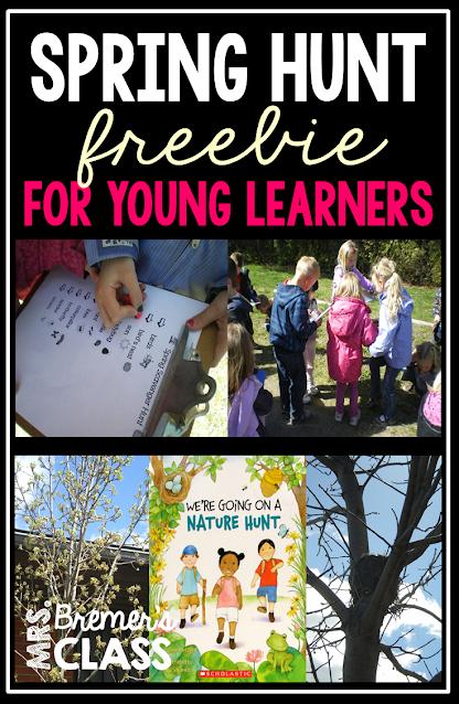 Signs of Spring outdoor scavenger hunt freebie for Kindergarten and First Grade