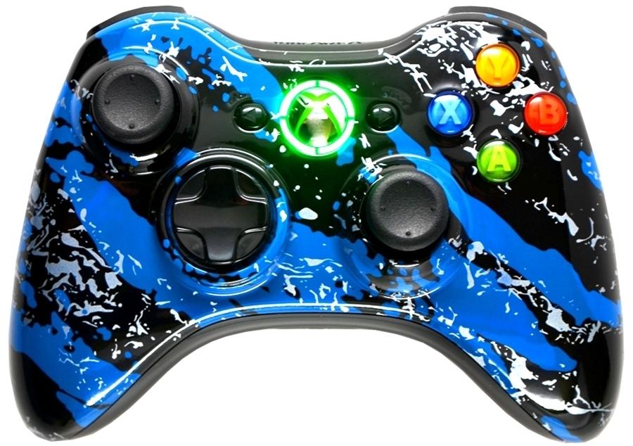 5000 Mode Mod Controllers Xbox 360 Blue Splatter