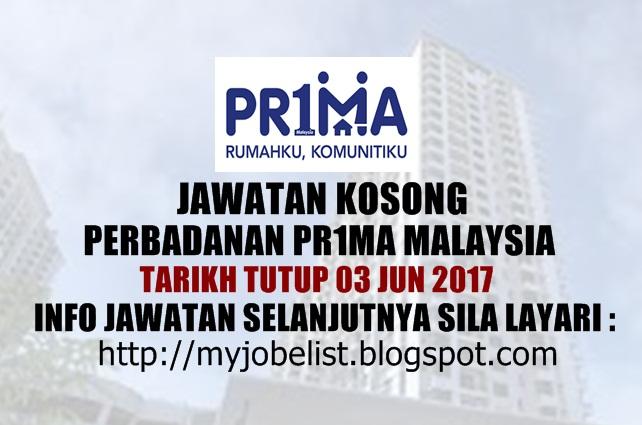 Jawatan Kosong di Perbadanan Pr1ma Malaysia Jun 2017