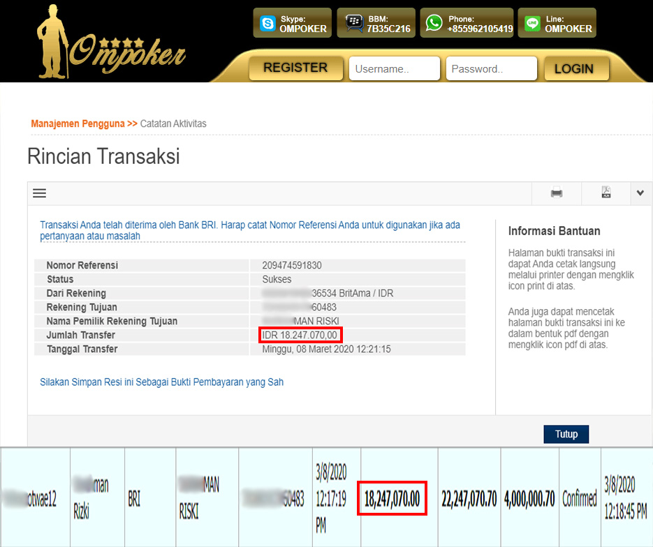 Selamat Kepada Member Setia Ompoker WD Rp 18.247.070