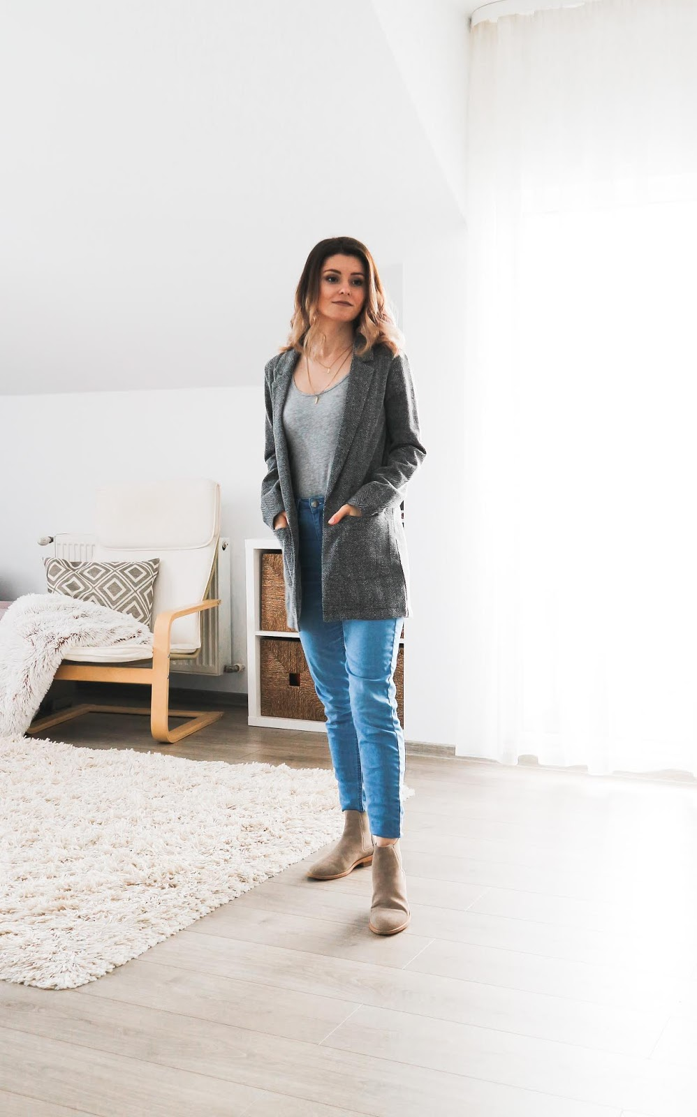 grey day textured blazer outfit