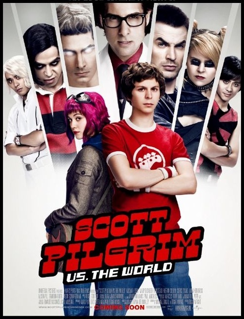 Scott Pilgrim, with arms folded in front of Ramona Flowers, images of her seven exes fanned out behind them