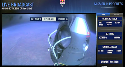 LIVE VIDEO - Mission To The Edge of Space –  Record-Breaking Freefall Jump (5) 10-14-12