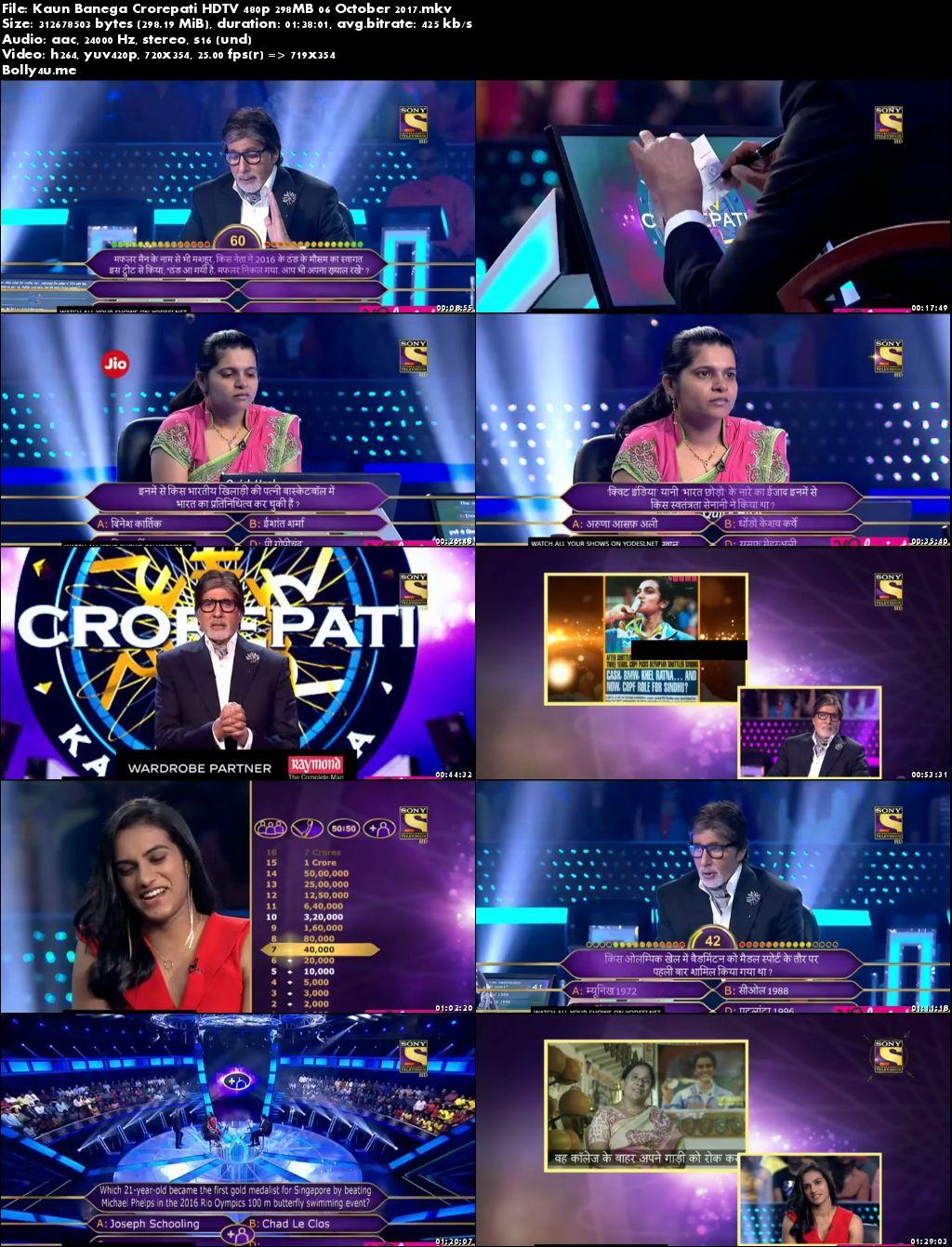 Kaun Banega Crorepati HDTV 480p 300MB 06 October 2017 Download