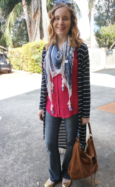 Away from Blue | Flared Jeans spring layers print mixing scarf and stripe cardi
