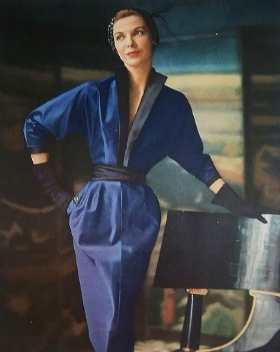Model in royal blue Adele Simpson dress Ad for Enka Rayons
