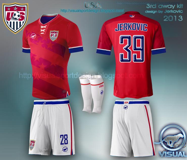 8c4a5293575 USA soccer jersey new 2014 brasil world cup jerkovic design