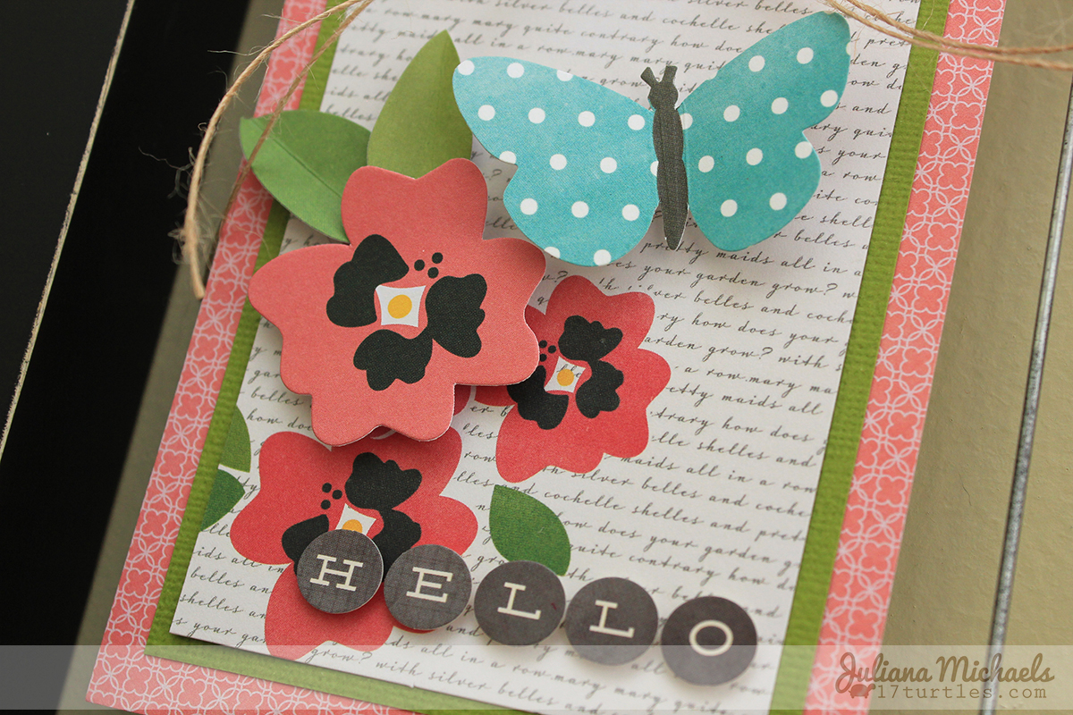 Hello Spring Clip Frame Wall Decor using Pebbles Inc Journaling Cards by Juliana Michaels