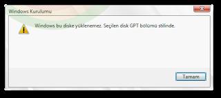Windows bu diske yüklenemez Seçilen disk GPT bölümü stilinde