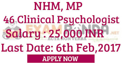 46 Clinical Psychologist Posts- NHM MP