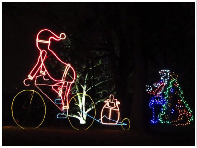 Taking a ride at Reflections in the Park Holiday Light Show in Dubuque! Image courtesy of Between England and Iowa.