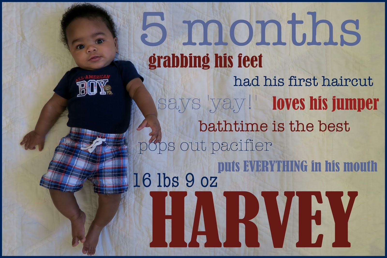 5 Months Harvey Jay Monthly Updates Letter To Baby Boy Happy
