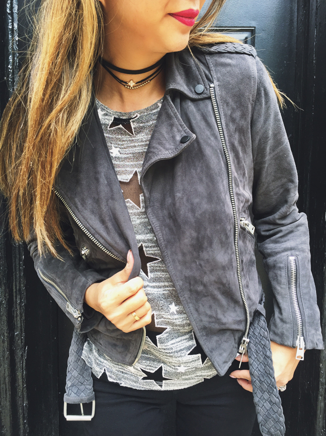 T&J Designs All Star Tee, All Saints Moto Jacket