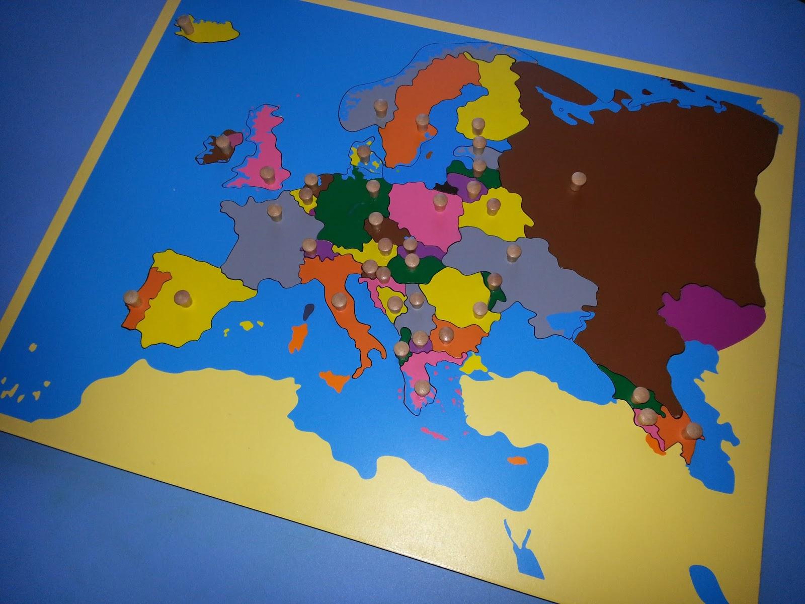 Montessori Drewniane Puzzle Mapa Europy