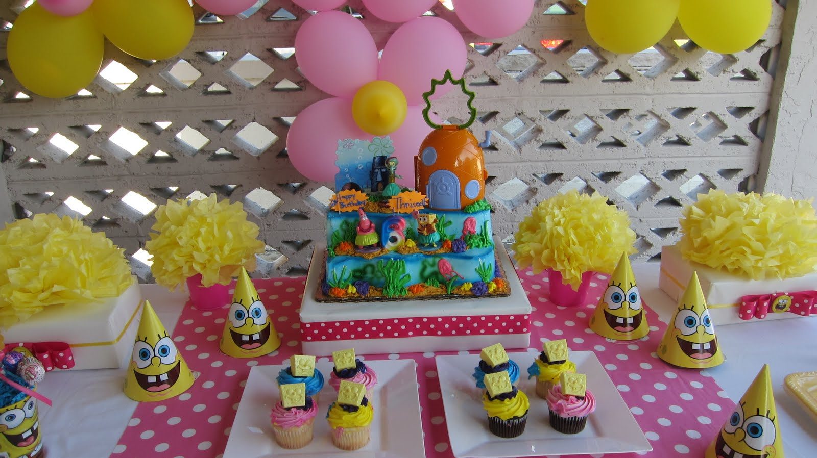 Simplyiced Party Details Pink And Yellow Spongebob