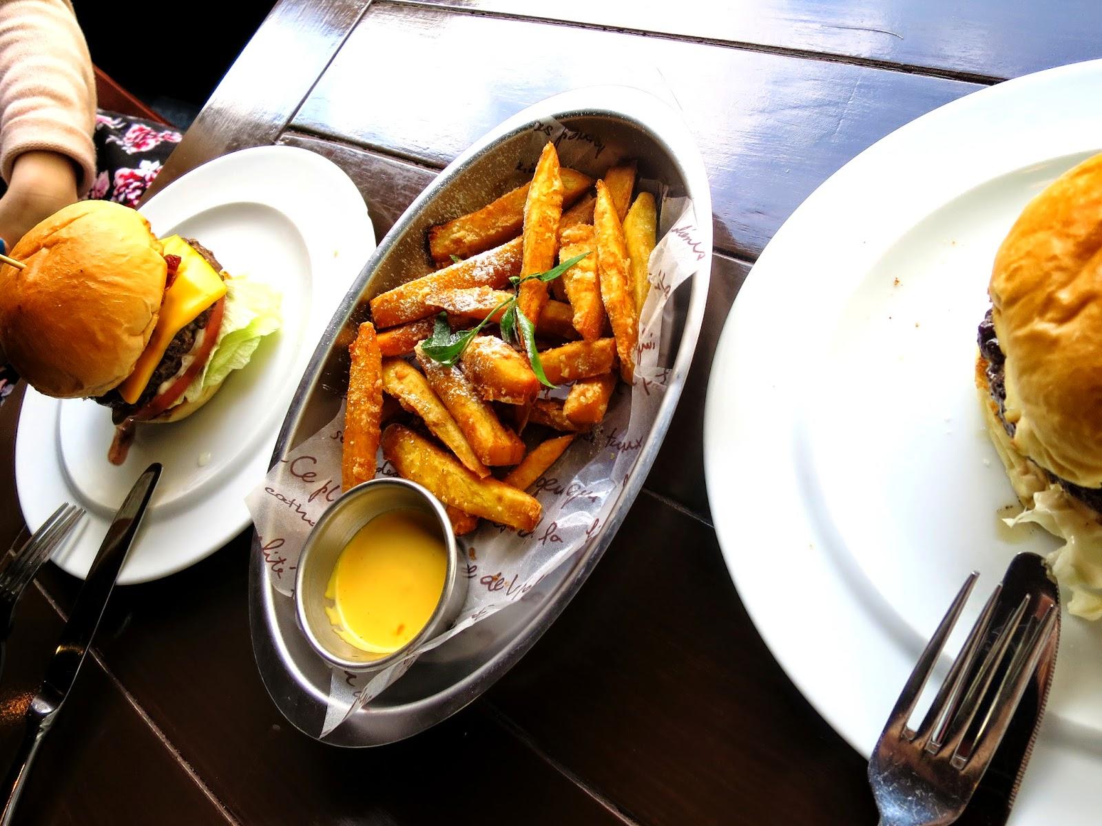 Photo of the Bacon Burger, Miso Burger and Sweet Fries at Burger B's, Hongdae