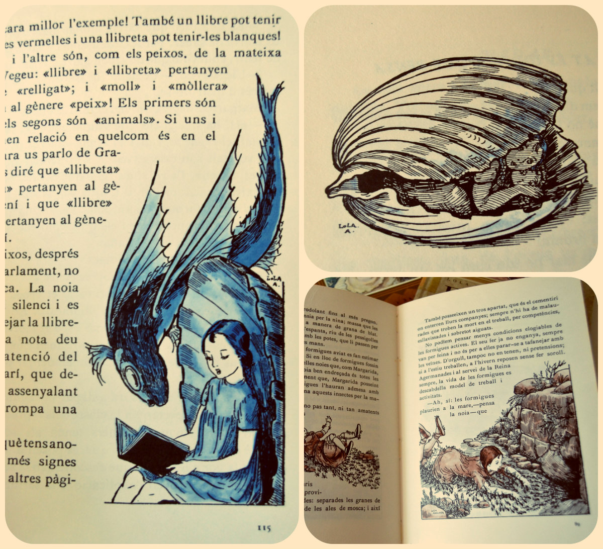 Libros, ilustraciones, Lola Anglada, Narcis, Margarida, En peret