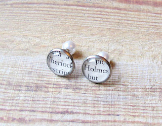 image sherlock holmes earrings ear studs pearl double-sided two cheeky monkeys