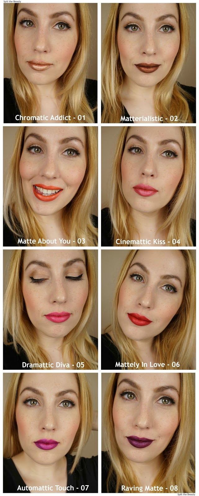 milani amore mattalic lip creme collection review swatches
