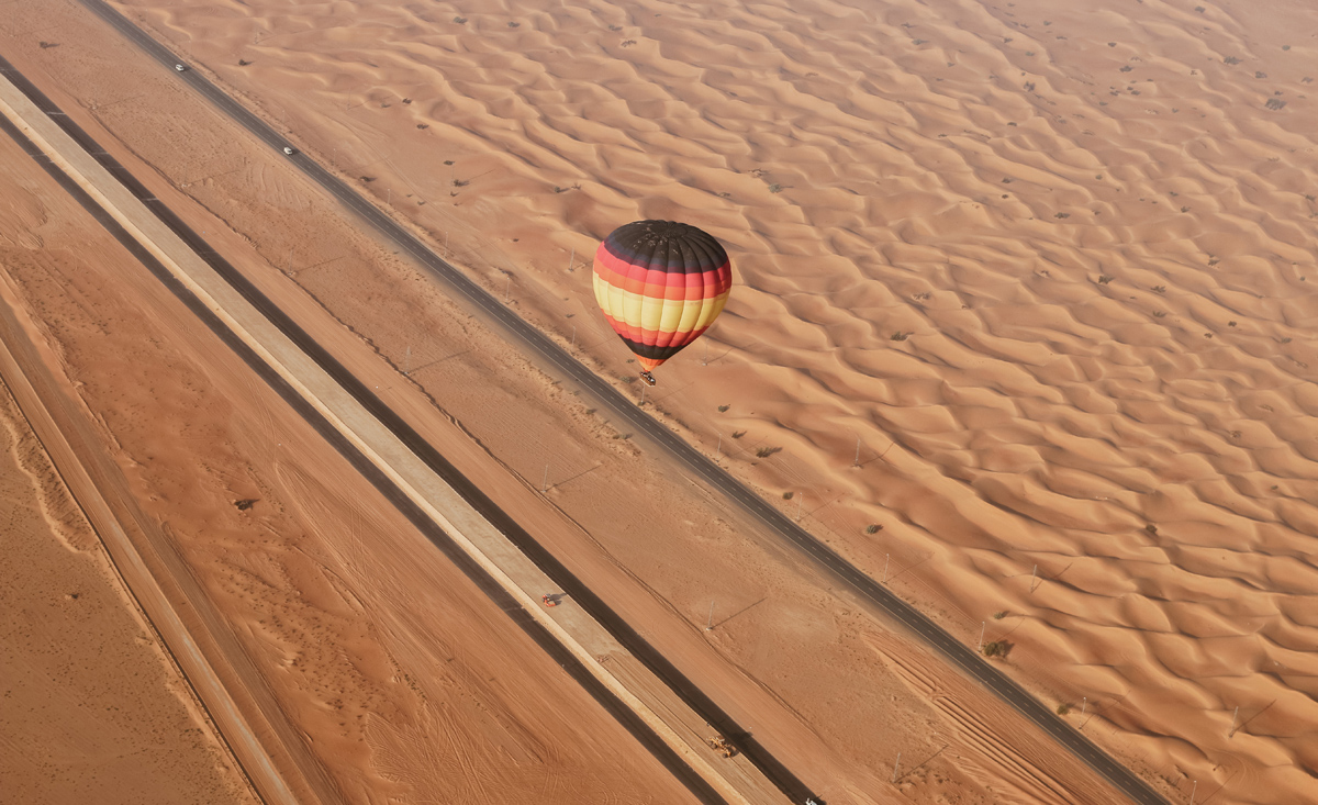 photo taken from a hot air balloon in Dubai