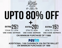 Jabong: Upto 80% OFF + Extra 25% OFF on Min Cart Rs.1999 + Get Rs.100 Cashback Via PAYTM WALLET