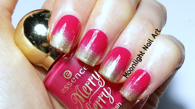 Ombre French Manicure in Red & Gold - Red and Gold Gradient Nail Art - Christmas Nail Art