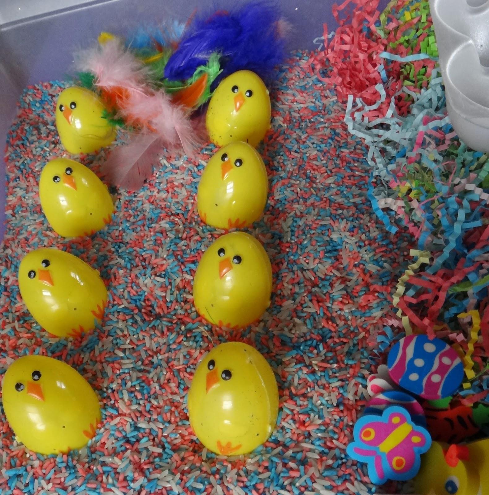 Easter sensory bin chick find the egg