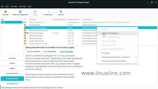 install fonts on Ubuntu using Synaptic Package Manager