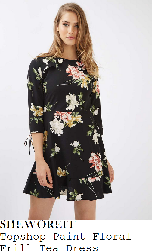 holly-willoughby-topshop-black-white-red-yellow-gold-and-green-painterly-floral-print-three-quarter-sleeve-cut-out-frill-detail-high-waisted-a-line-tea-dress