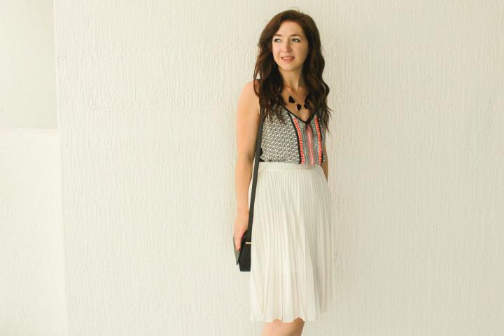 art-deco-fashion-trend, geometric-print-fashion-trend, embellished-tank-tops, how-to-wear-an-embellished-tank, sequin-tank-tops, beaded-tank-tops, how-to-wear-a-pleated-midi-skirt, how-to-wear-ivory, how-to-wear-white, how-to-wear-a-midi-skirt, express-black-and-white-geo-print-embellished-cami, express-ivory-high-waisted-pleated-midi-skirt, express-geometric-statement-necklace, express-mini-tassel-earrings, forever-21-crossbody, nine-west-half-dorsay-pumps