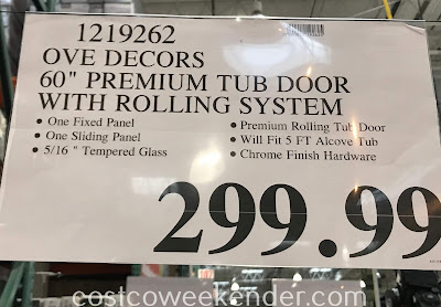 Deal for the Ove Decors Premium Tub Door with Rolling System at Costco