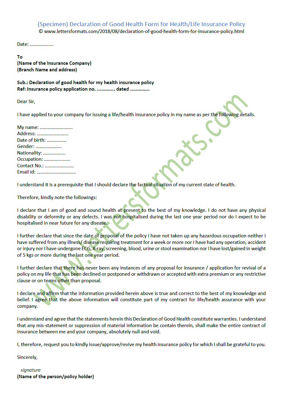 declaration of good health form for health life insurance policy