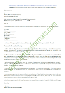 Declaration of Good Health Form for Health or Life Insurance Policy