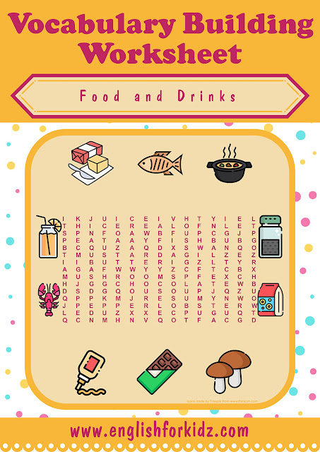 Food and drinks wordsearch for English teachers
