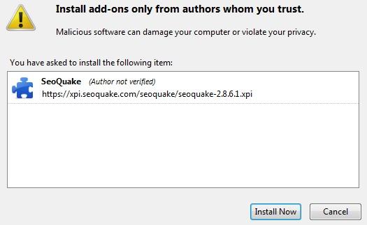 Install plugin SEO QUAKE pada browser Mozilla