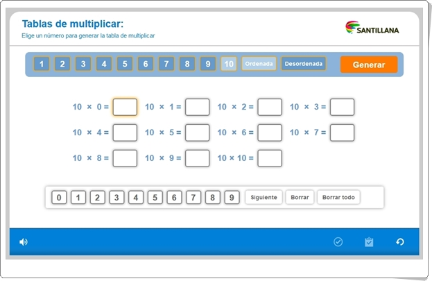 """""""Generador de Tablas de Multiplicar"""" (Aplicación interactiva de Matemáticas de Primaria)"""